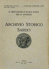 Archivio Storico Sardo - Volume n. XXII - Regia Deputazione di Storia Patria per la Sardegna
