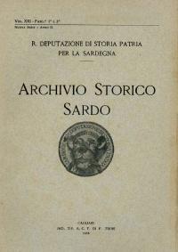 Archivio Storico Sardo - Volume n. XXI Fasc. 1 e 2 - Regia Deputazione di Storia Patria per la Sardegna