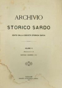 Archivio Storico Sardo - Volume n. X - Società Storica Sarda